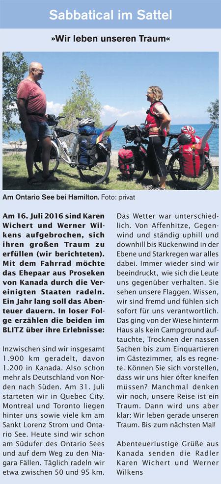Sabbatical im Sattel - Zeitungsartikel aus der Blitz vom 28.08.2016