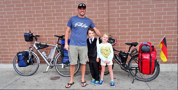Junger Ami mit seinen Kids