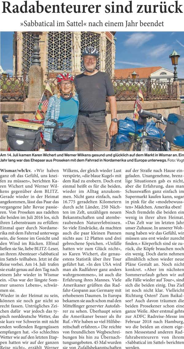 Karen Wichert und Werner Wilkens sind nach Wismar zurückgekehrt